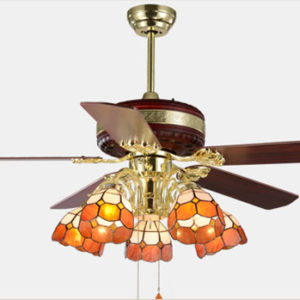 Fashion antique Luxurious ceiling fans remote control with led lights