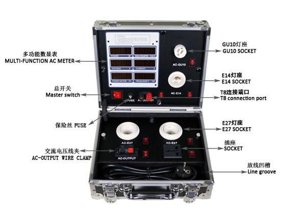 LG-250-6P LED sample box,aluminium demo case,led light tester,tester for led lamp,led light testing case