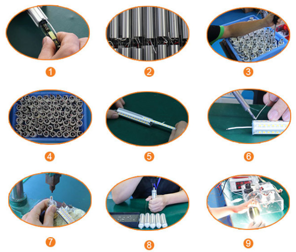Production Process of High Lumen Dimmable LED R7S replacing linear tungsten halogen lamp