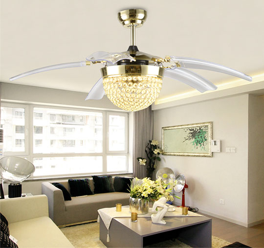 application of Crystal decorative remote ceiling fans
