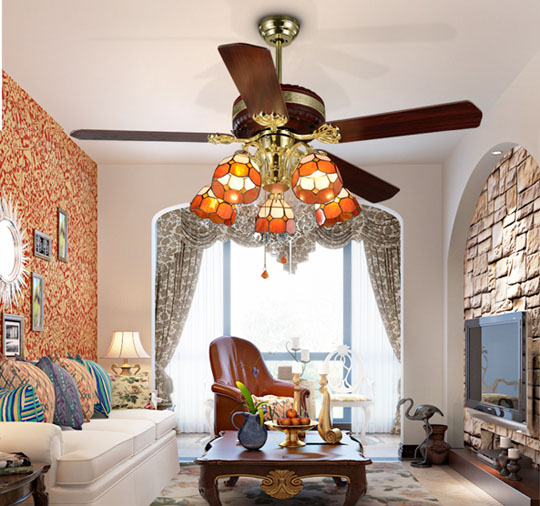 application of Fashion antique Luxurious ceiling fans remote control with led lights