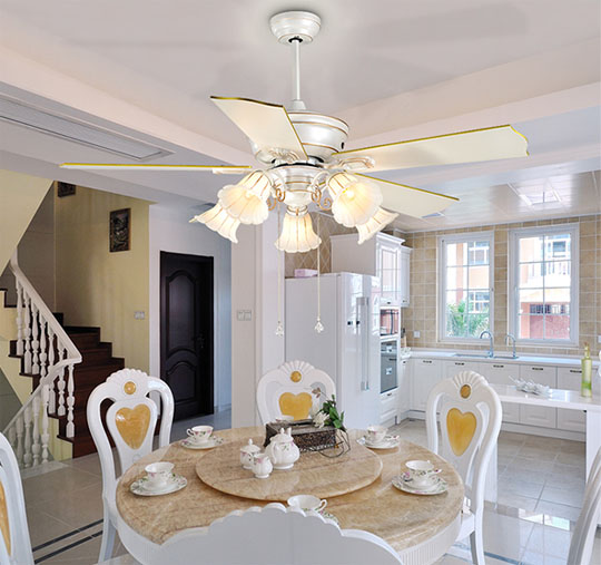 application of Plywood decorative house ceiling fan lamp with 5 lights for decoration