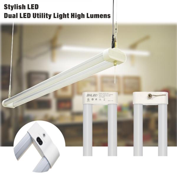application of T8 led LED 2' Utility Shop Light sling rope mounted LED working lights
