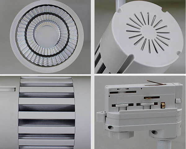 detail of 20w 30w 40w 50w dimmable Cree COB led track lights