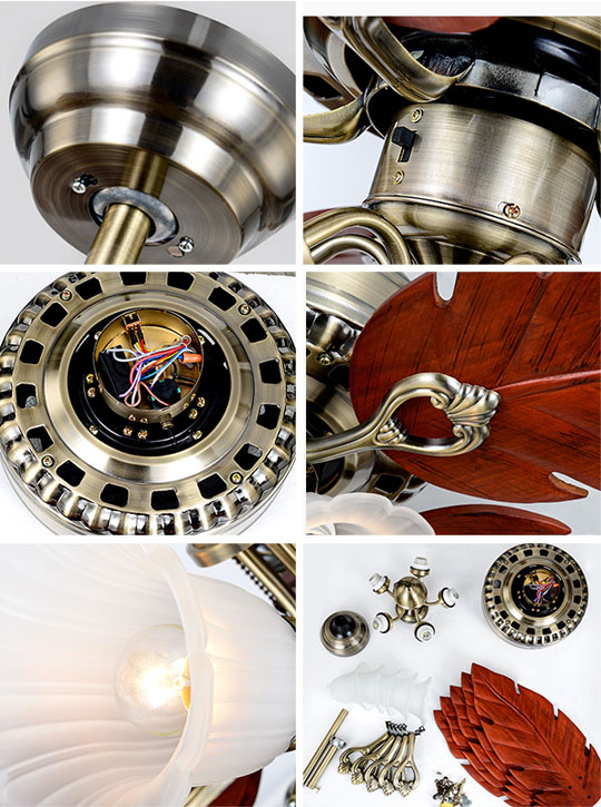 detail of 48 inch decorative design Luxurious ceiling fans lamp