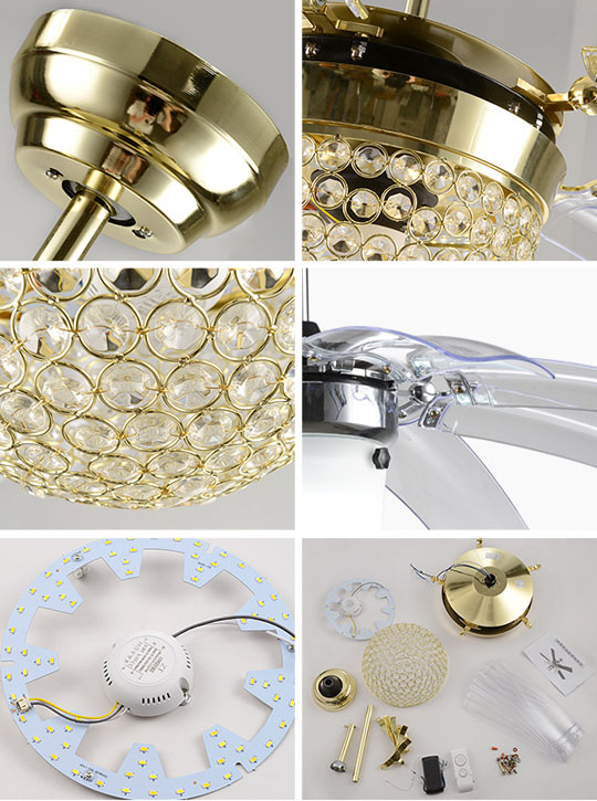detail of Crystal decorative remote ceiling fans