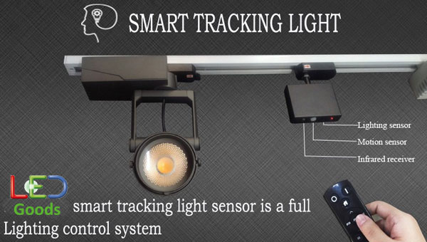 detail of Motion sensor and lighting sensor 30W COB LED Smart track light
