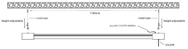 installing manual of T8 led LED 2' Utility Shop Light sling rope mounted LED working light