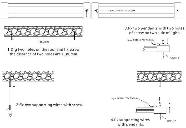 installing manual of T8 led LED 2' Utility Shop Light sling rope mounted LED working lights