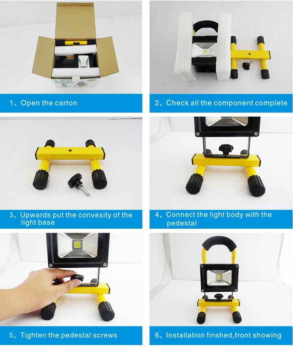 The-installation-for-Rechargeable-LED-Flood-Light